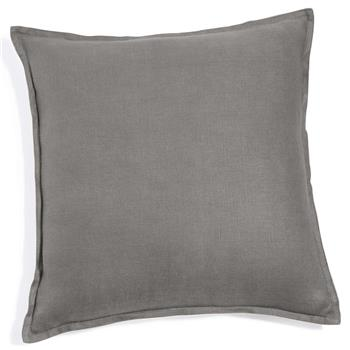 Washed linen cushion in grey 60 x 60cm
