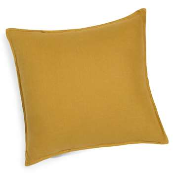 Washed linen cushion in mustard yellow 45 x 45cm