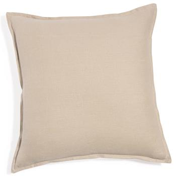 Washed linen cushion in natural 60 x 60cm