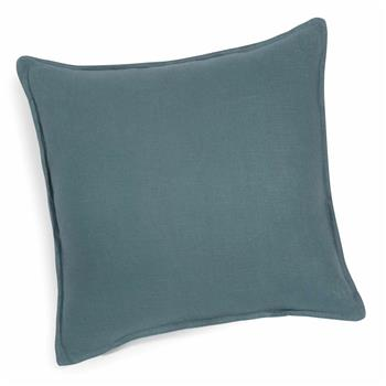 Washed linen cushion in petrol blue 60 x 60 cm