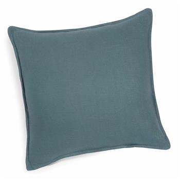 Washed linen cushion in petrol blue 60 x 60 cm