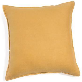 Washed linen cushion in yellow 60 x 60cm