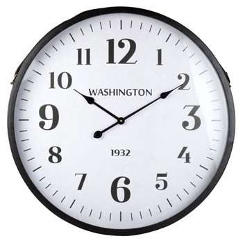 WASHINGTON - Black and White Metal Clock (Diameter 70cm)
