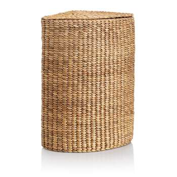 Water Hyacinth Corner Laundry Basket, Natural