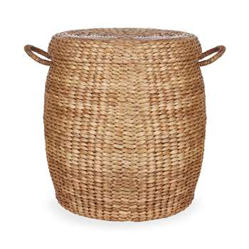 Water Hyacinth Oval Basket with Lid (56 x 50cm)