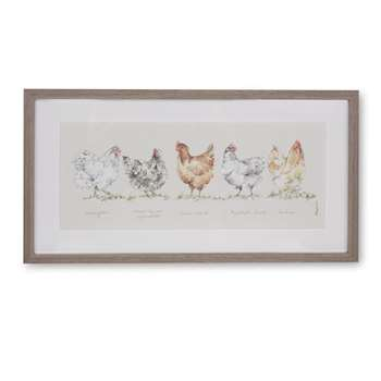 Watercolour Chickens Framed Print (H26 x W48cm)