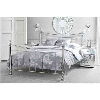 WATERFORD Nickel Chrome Plated Metal Bed (122 x 163cm)
