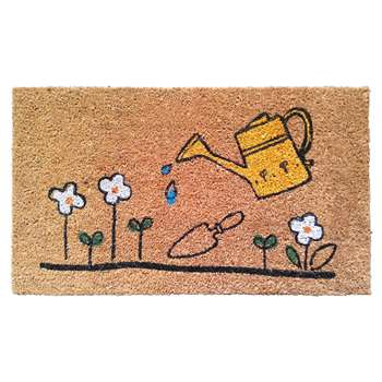 Watering Can & Flowers Decorative Rubber/Coir PVC Backed Doormat (H40 x W70cm)