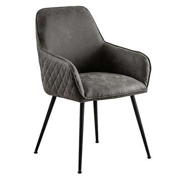 Watson Carver Chair - Grey - Faux Leather (H86 x W57 x D60cm)