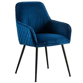 Watson Carver Chair Ink Blue with Black Legs (H86 x W57 x D60cm)