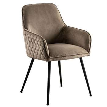 Watson Carver Chair Taupe with Black Legs (H86 x W57 x D60cm)