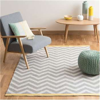 WAVE cotton low pile rug in grey (140 x 200cm)