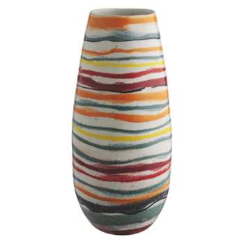 Wave Multi-coloured striped ceramic vase