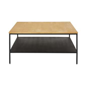 WAYAMPI - Black Metal and Solid Mango Wood Coffee Table with Two Surfaces (H40 x W85 x D85cm)
