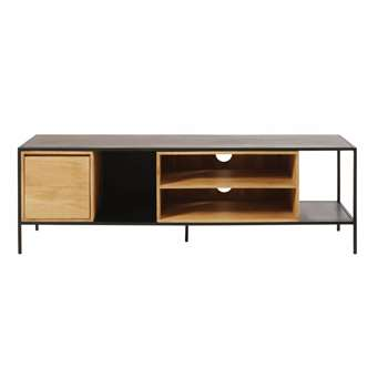 WAYAMPI Solid Mango Wood and Black Metal 1-Door TV Cabinet (55 x 155cm)