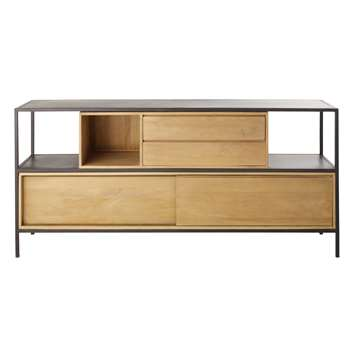 WAYAMPI Solid Mango Wood and Black Metal 2-Door 1-Drawer Sideboard (83 x 180cm)