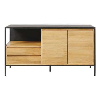 WAYAMPI Solid Mango Wood and Black Metal 2-Door 2-Drawer Sideboard (80 x 144cm)