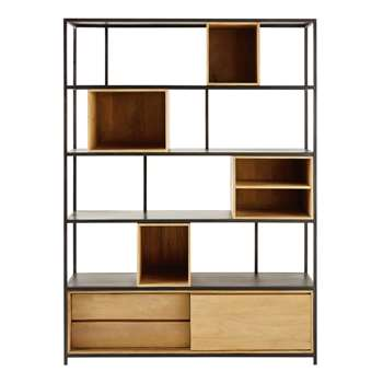WAYAMPI Solid Mango Wood and Black Metal Bookcase (190 x 142cm)