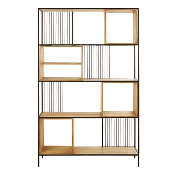 WAYAMPI - Solid Mango Wood and Black Metal Shelving Unit (H200 x W125 x D35cm)