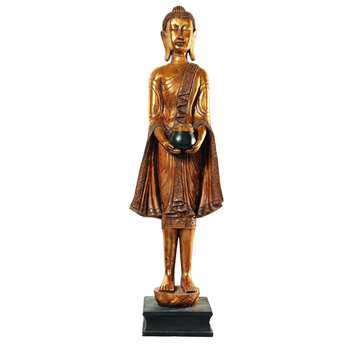 WAYAN Resin standing Buddha statue in gold (H142 x W30 x D29cm)