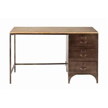 WAYNE Fir and Metal Industrial 3-Drawer Desk (77 x 126cm)