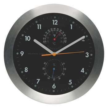 Weather Black wall clock with thermometer (Diameter 30cm)