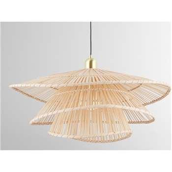 Weaver Pendant Lamp, Natural Bamboo (H65 x W100 x D65cm)