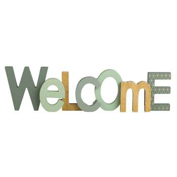 WELCOME GREEN Green Word Décor (11 x 42cm)