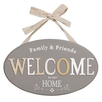 WELCOME Grey Printed Decorative Wall Plaque (31 x 39cm)