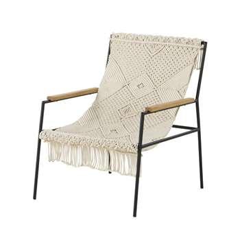 Wellbe Ivory Woven Cotton Armchair (H80 x W62 x D75cm)