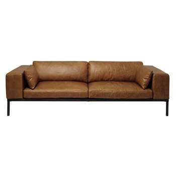 WELLINGTON 4 seater leather sofa in camel (75 x 244cm)