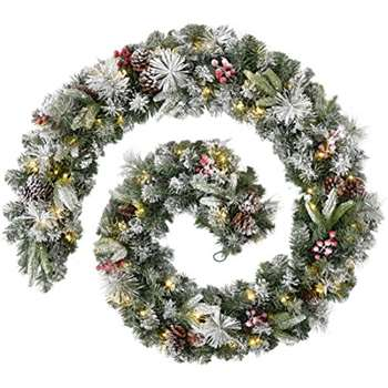 WeRChristmas Extra Thick Pre-Lit Garland with 80 Warm LED Lights, Frosted, 9 feet (Length 270cm)