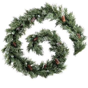 WeRChristmas Scandinavian Blue Spruce Christmas Garland with Pine Cones, 9 feet - Green (Length 270cm)