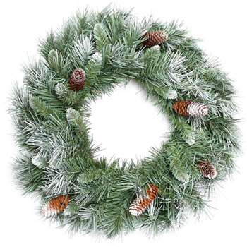 WeRChristmas Scandinavian Blue Spruce Christmas Wreath Decoration with Pine Cones - Large, Green (Diameter 50cm)