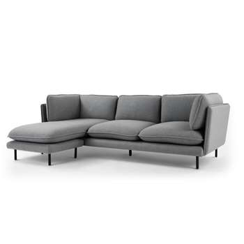Wes 3 Seater Chaise End Corner Sofa, Elite Grey (H77 x W235 x D152cm)