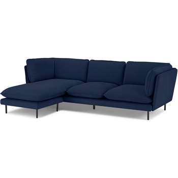 Wes 3 Seater Chaise End Corner Sofa, Midnight Blue Corduroy Velvet (H77 x W235 x D152cm)