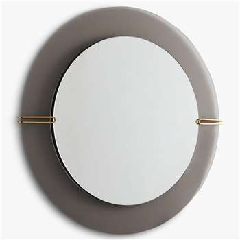 west elm Dapper Mirror, Smoke (H88 x W88 x D15cm)