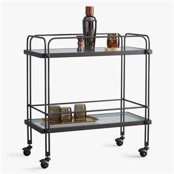 west elm Fulton Glass Bar Cart, Clear/Bronze (H75 x W71 x D36cm)