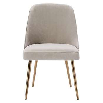 west elm Mid-Century Velvet Dining Chair, Dove Grey (H83.5 x W52 x D62cm)