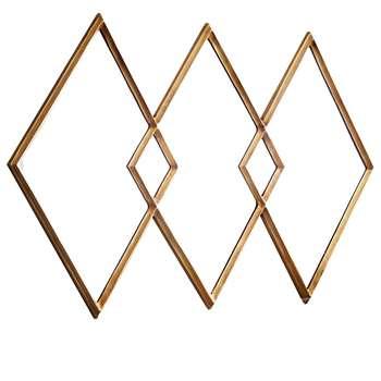 west elm Overlapping Diamonds Mirror, Brass (H102 x W152 x D5cm)
