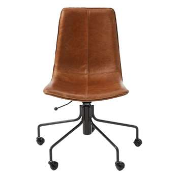 west elm Slope Leather Office Chair, Saddle (H94 x W62 x D62cm)