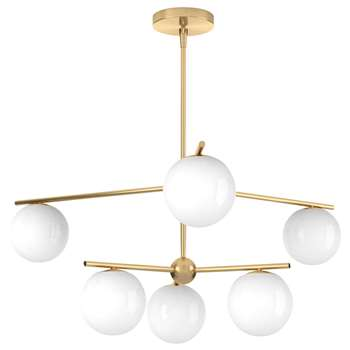west elm Sphere + Stem Ceiling Light, Brass (H38 x W86 x D86cm)