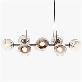 west elm Staggered Glass Chandelier Ceiling Light, Silver (H25.4 x W96.5 x D48.3cm)