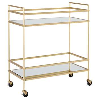 west elm Terrace Bar Cart, Antique Brass (H81 x W71 x D36cm)