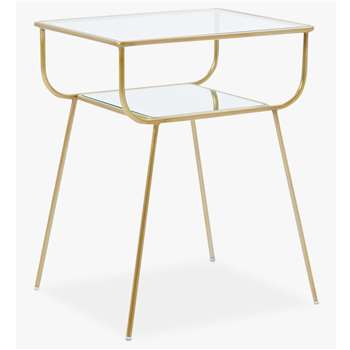 west elm Terrace Bedside Table, Antique Brass (H61 x W48 x D33cm)