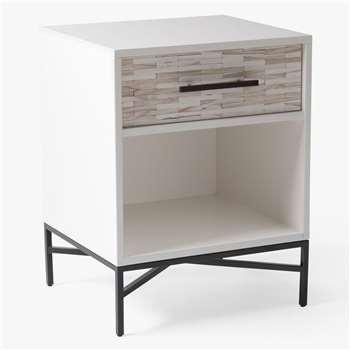 west elm Wood Tiled 1 Drawer Bedside Table, White (H61 x W51 x D46cm)