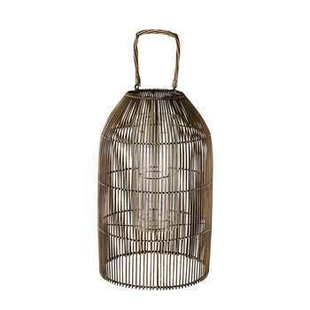 WEST Woven Bamboo and Glass Lantern (H59 x W36 x D36cm)