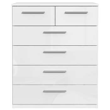 Westbury High Gloss 4 + 2 Drawer Chest, White Gloss (H85.6 x W70.3 x D41.3cm)