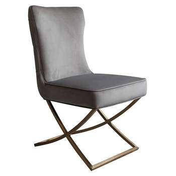 Wexler Dining Chair Dove Grey - Brass Base (H94 x W54 x D85cm)