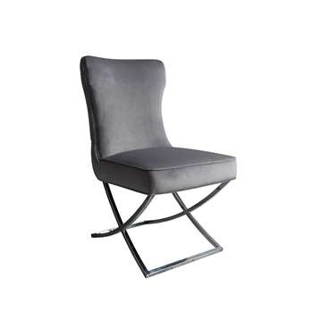 Wexler Dining Chair  Dove Grey -  Silver Base (H94 x W54 x D85cm)